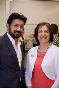Siddhartha Mukherjee, physician and author, with Tara M. Hill of the Maine Cancer Foundation. Mukherjee spoke in May at the University of Southern Maine. Courtesy photo